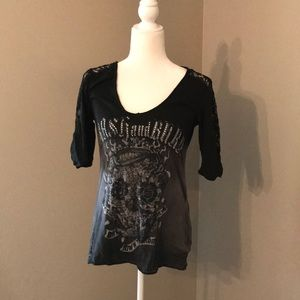 Black/Gray Ombré Lace Crash & Burn Shirt
